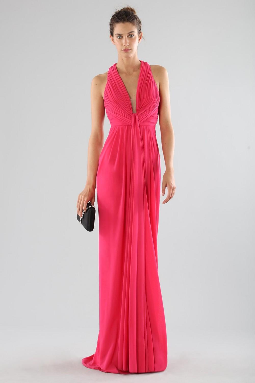 Fuchsia V-neck dress