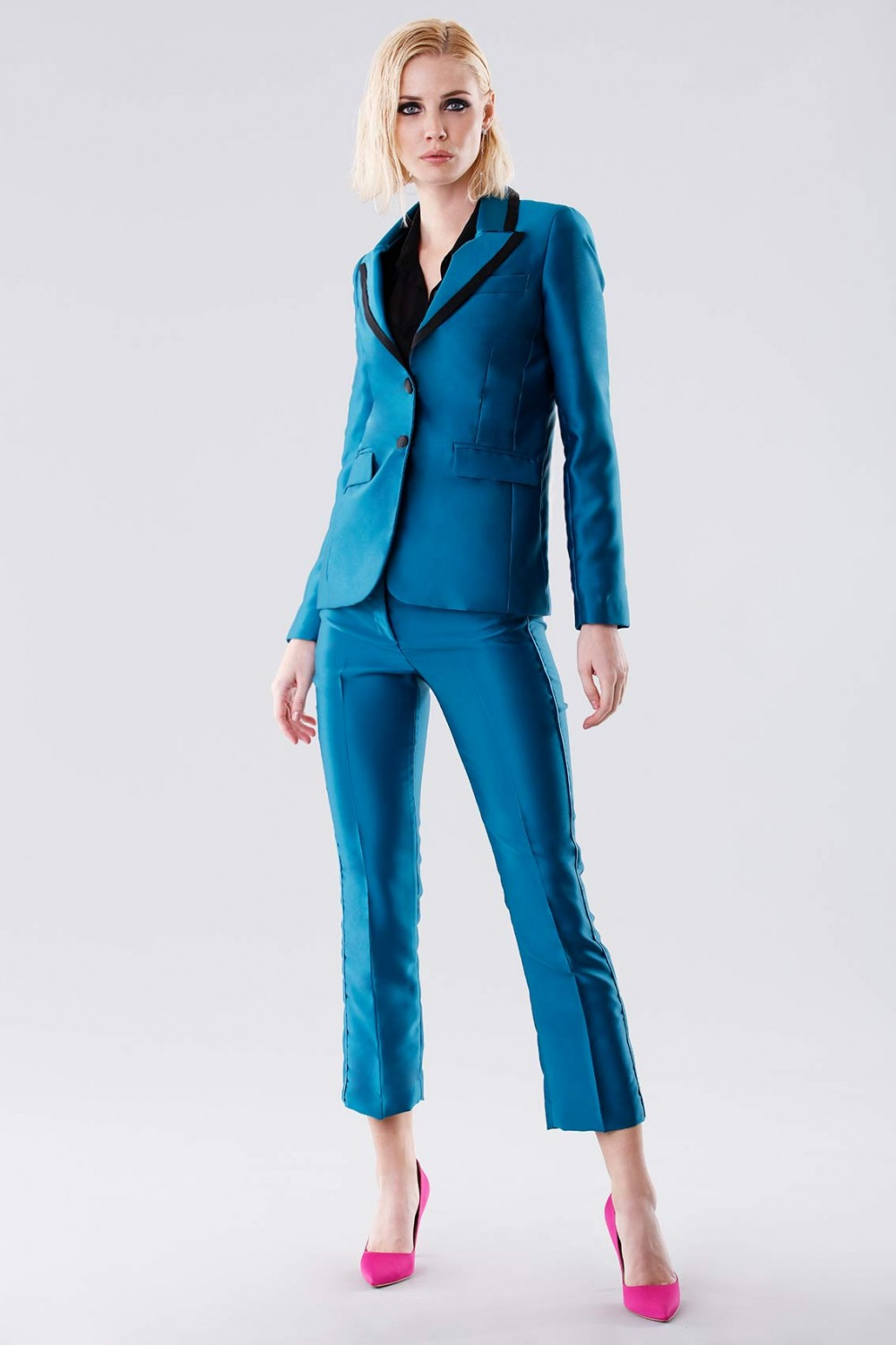 Turquoise satin jacket and trousers