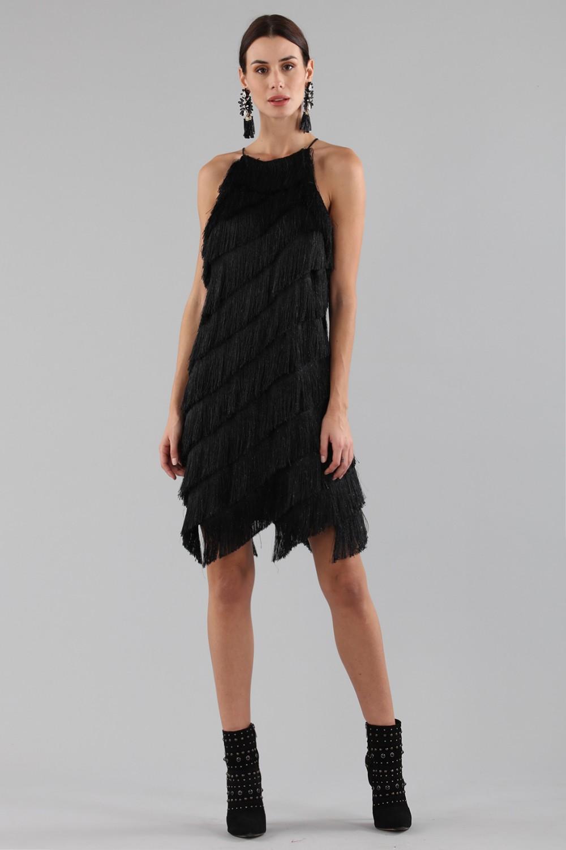 Mini-dress with fringes