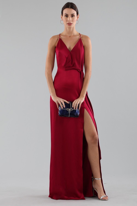 Cherry red satin dress by Halston Heritage