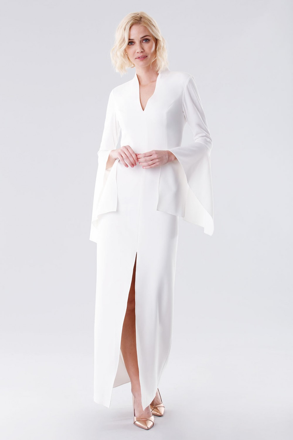 White dress with open bell sleeves