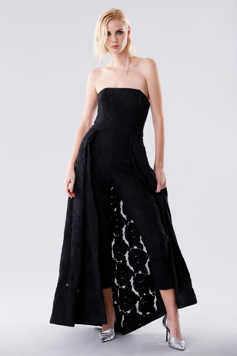 Bustier jumpsuit with overlaid skirt