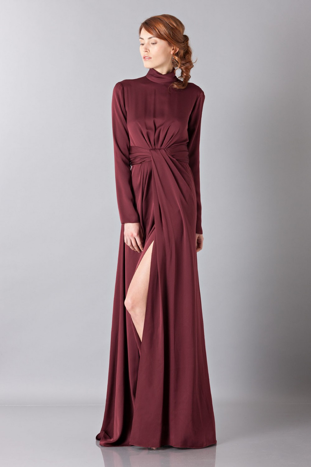 Silk dress with back neckline
