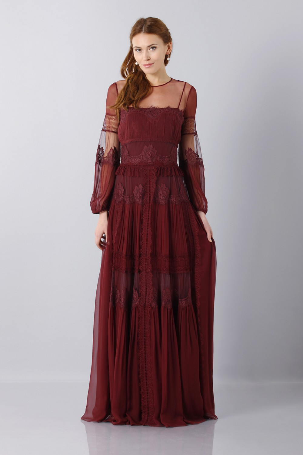 Lace dress with transparencies