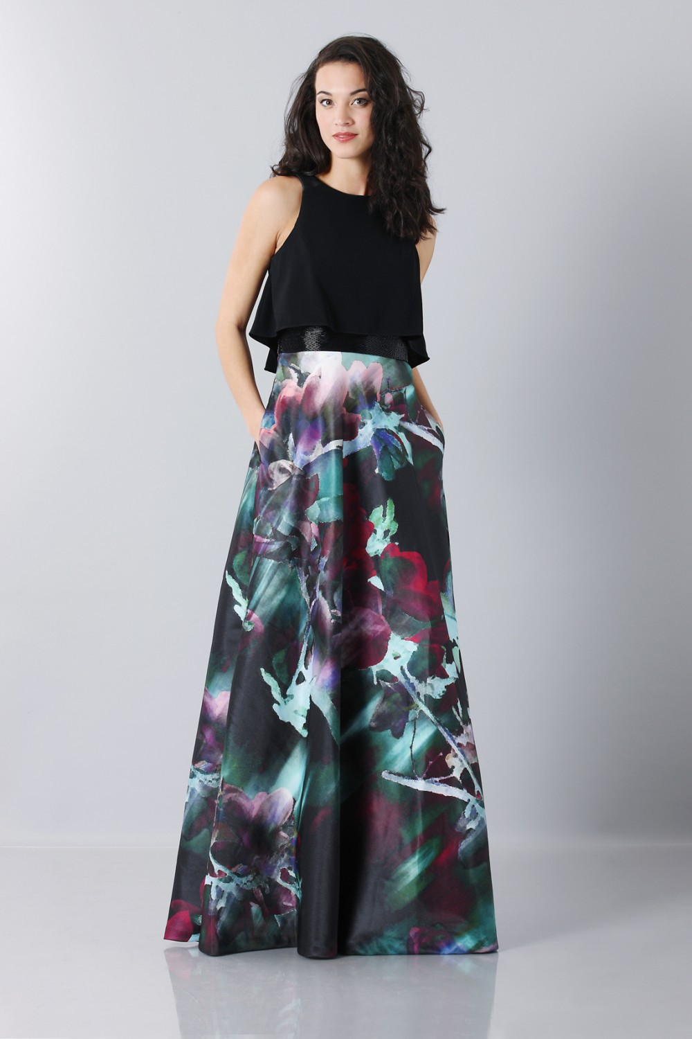Crop top and floral printed skirt dress