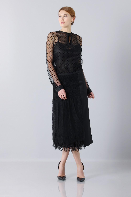 Longuette skirt of tulle