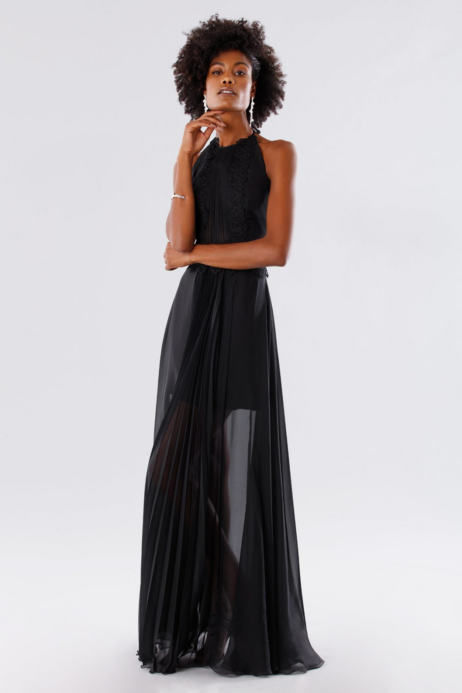 Black dress with neck tie