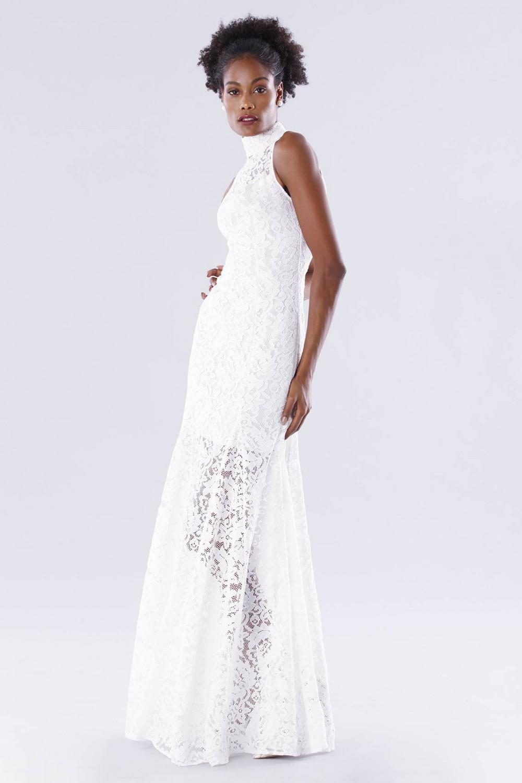 White high neck lace dress