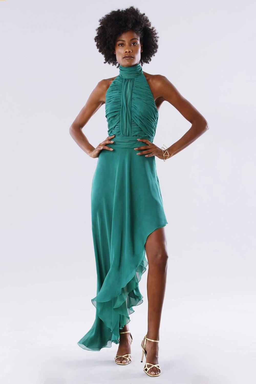 Green asymmetrical backless dress
