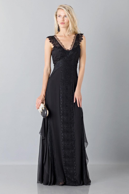 Long black dress with lace neckline