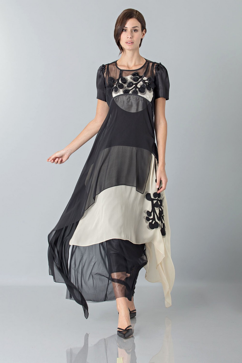 Layered sheer gown