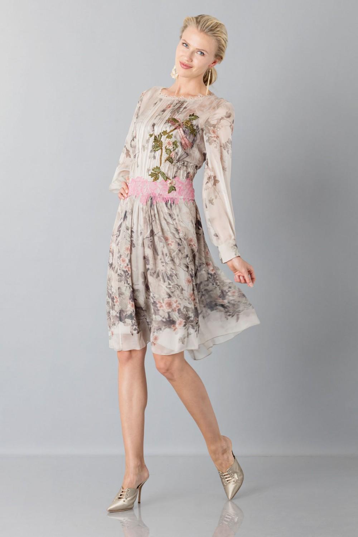 Silk chiffon dress with floral pattern