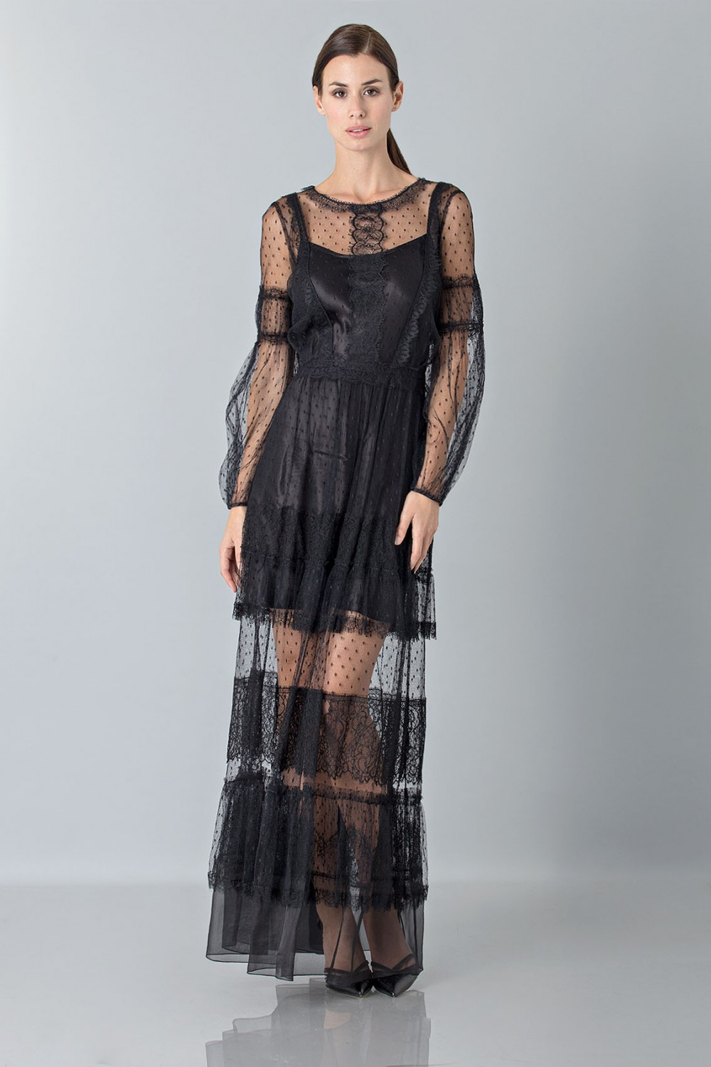 Silk dress with lace inserts and transparencies