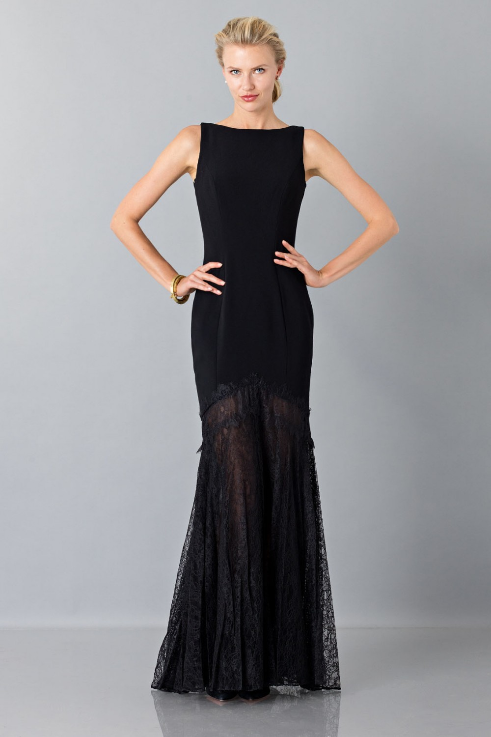 Black dress with transparent lace skirt