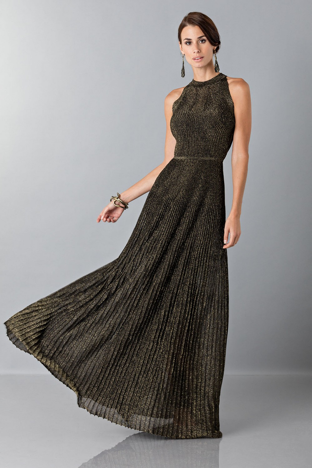 Dress with gold textures