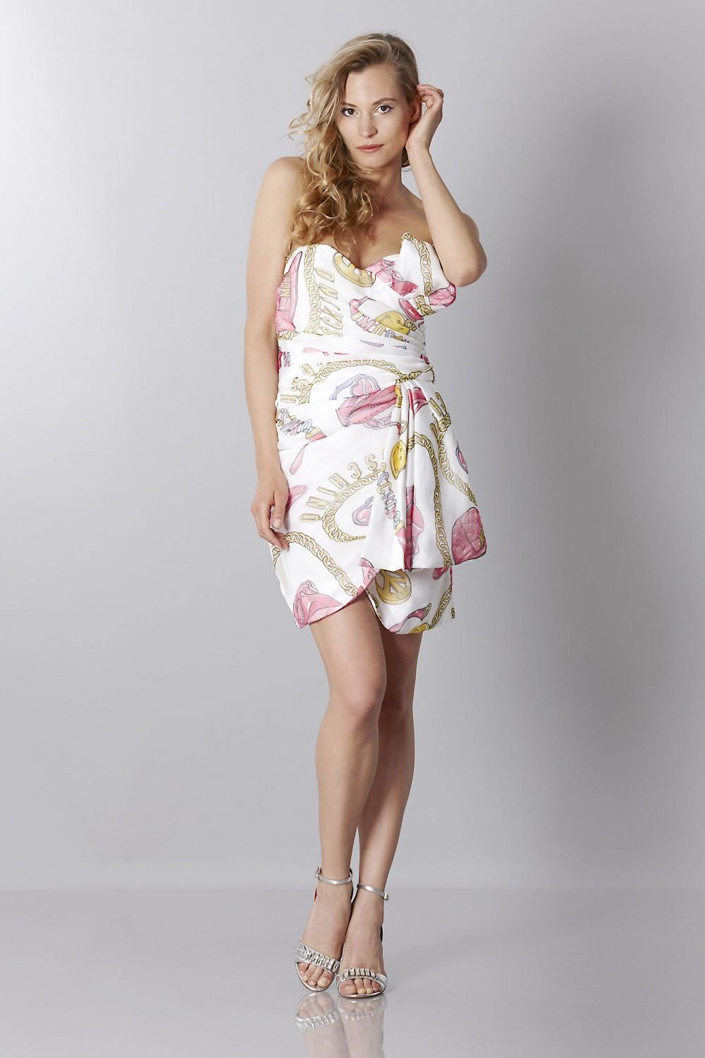 Silk printed bustier dress