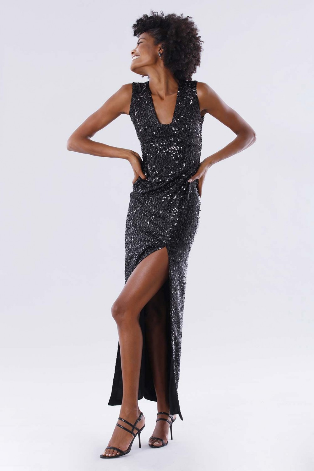 Sequined dress with square neckline