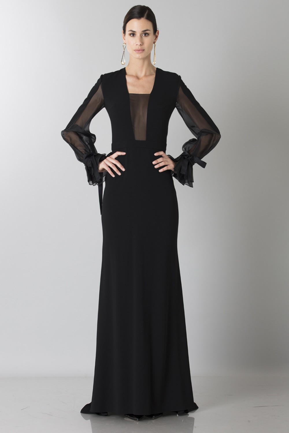 Silk dress with long sleeve and transparent neckline