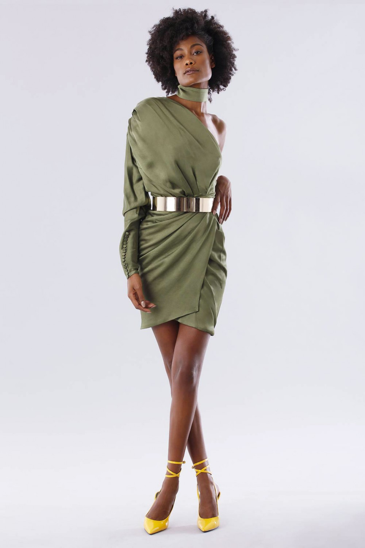 One-shoulder short olive dress