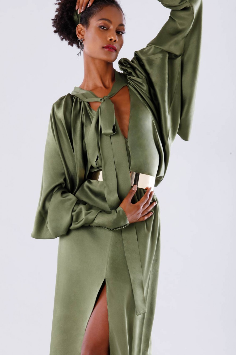 Olive dress with batwing sleeves