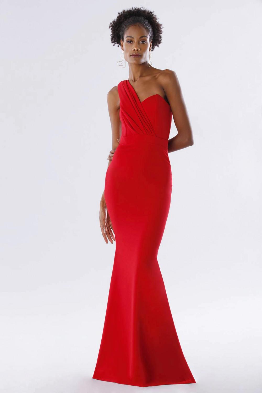 One-shoulder red mermaid dress