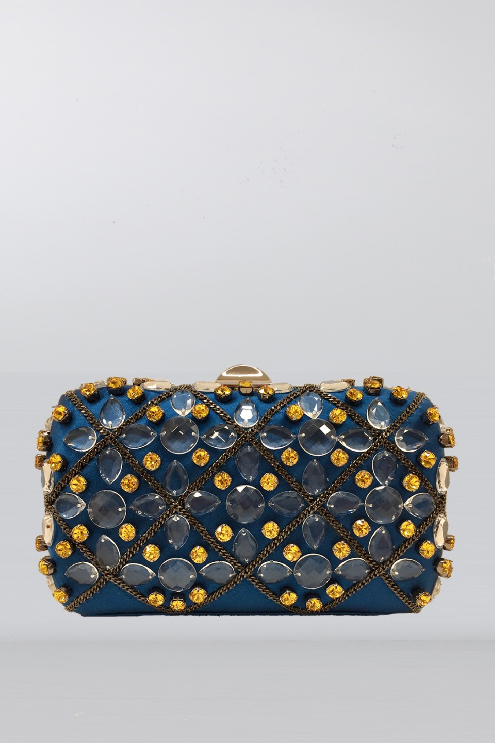 Blue silk clutch with crystals and chains
