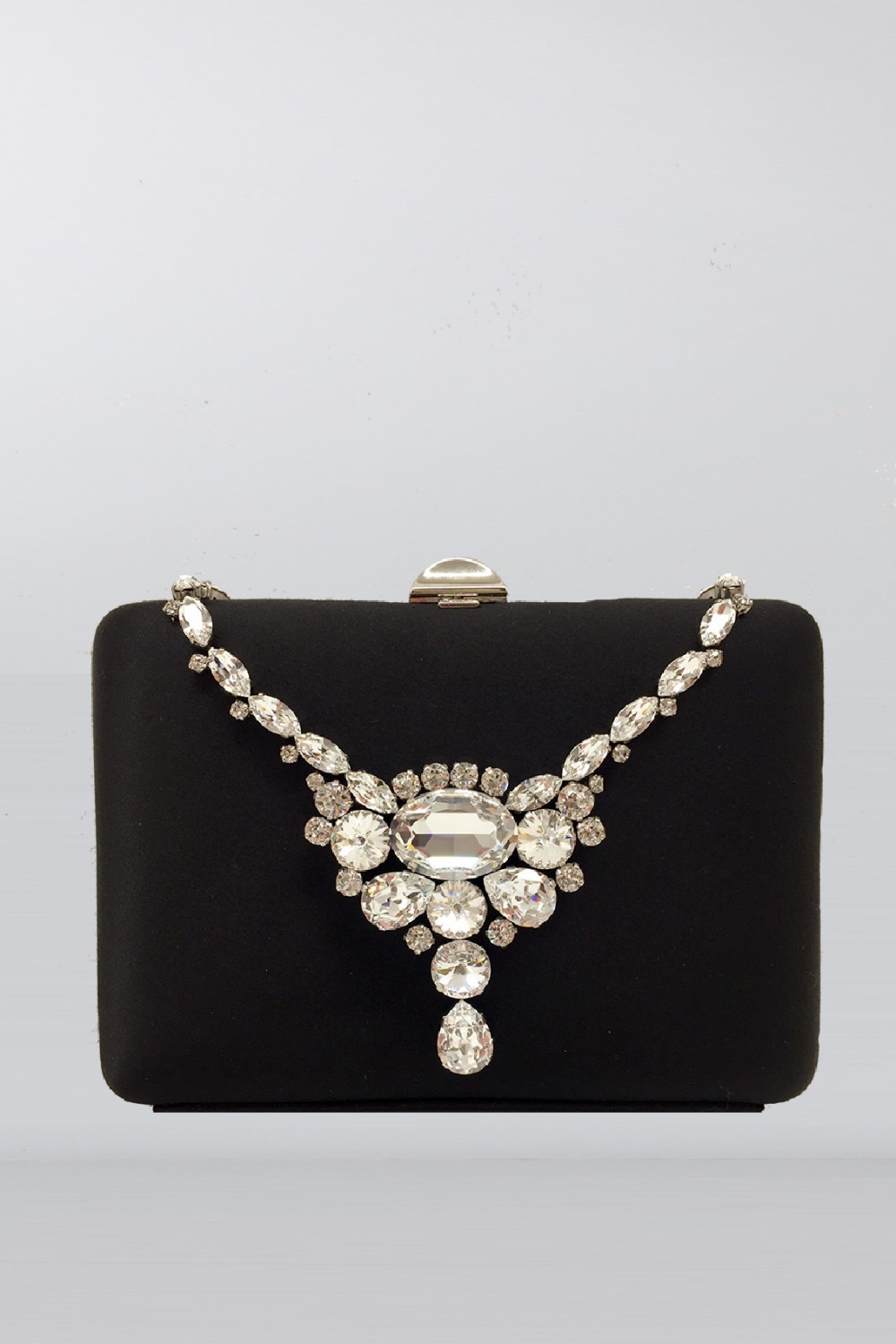 Black clutch with necklace