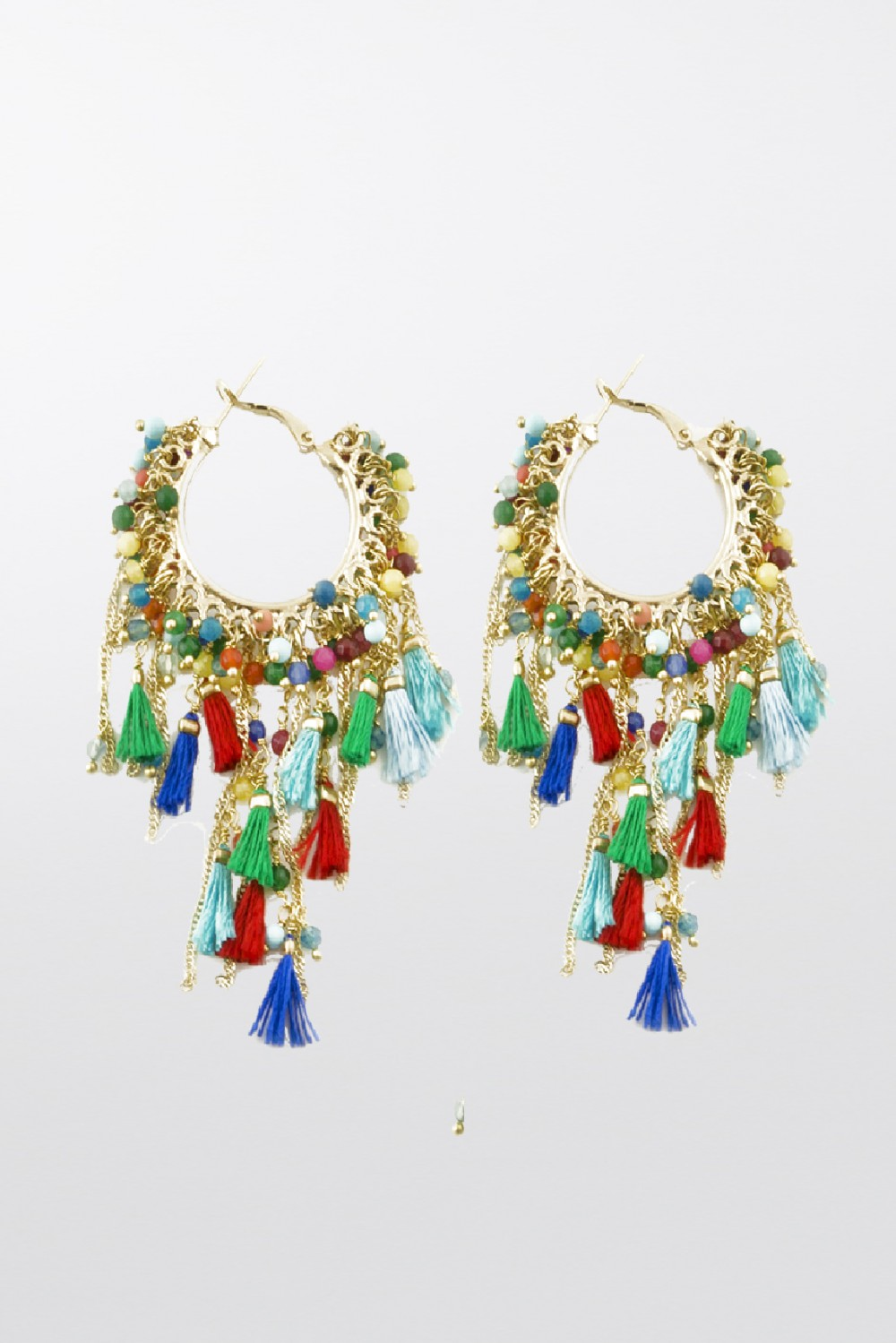 Earrings with coloured beads