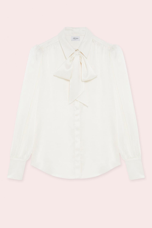 Camicia bianca in seta con fiocco