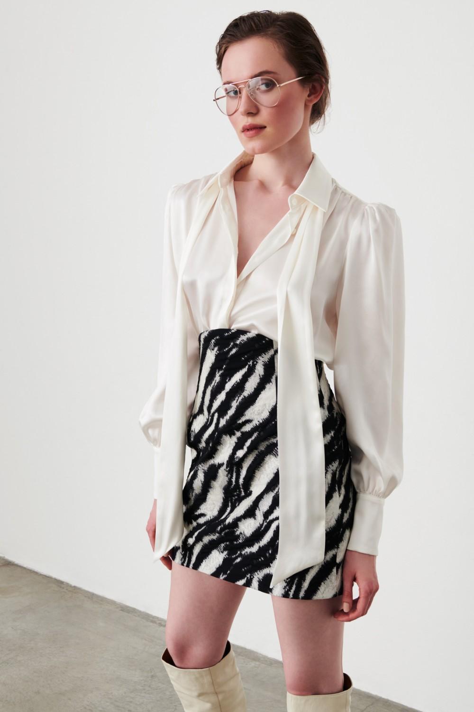 Completo camicia e minigonna stampa zebra