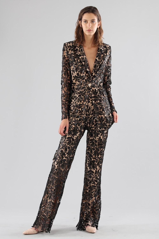 Black lace suit with sequins
