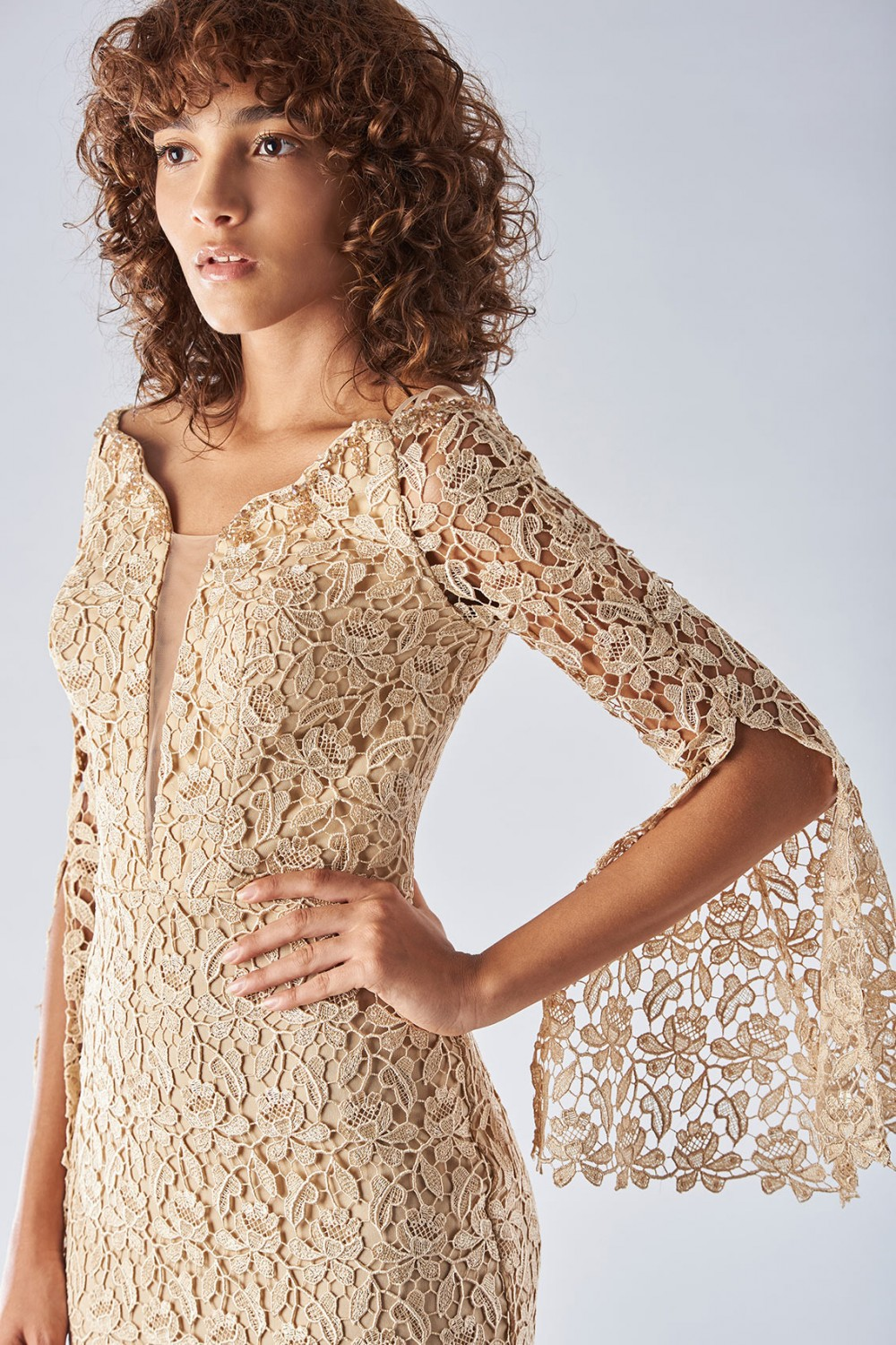 Lace sheath dress with bell sleeves