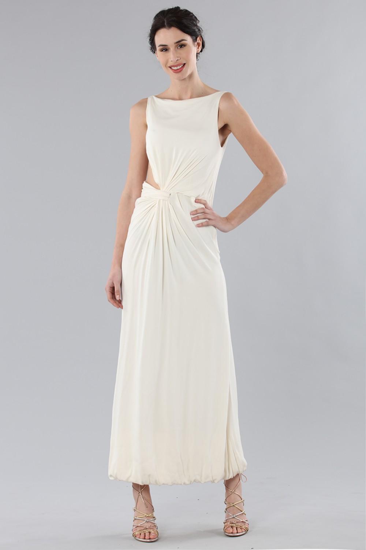 Long draped silk dress