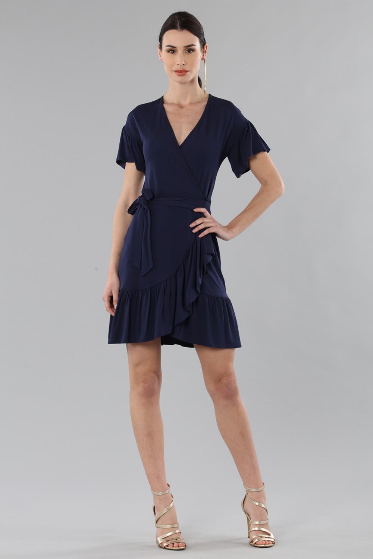 Mini wrap dress with ruffles