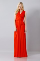 Drexcode - Silk red dress with slit - Vionnet - Rent - 3