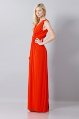 Drexcode - Silk red dress with slit - Vionnet - Rent - 4