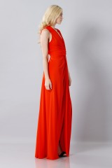 Drexcode - Silk red dress with slit - Vionnet - Rent - 5