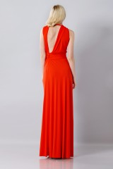 Drexcode - Silk red dress with slit - Vionnet - Rent - 6