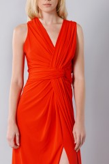 Drexcode - Silk red dress with slit - Vionnet - Rent - 7