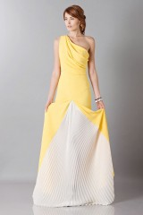 Drexcode -  Yellow one-shoulder dress with front train - Vionnet - Sale - 4