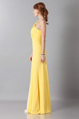 Drexcode -  Yellow one-shoulder dress with front train - Vionnet - Sale - 7