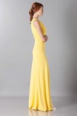 Drexcode -  Yellow one-shoulder dress with front train - Vionnet - Sale - 5