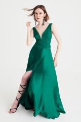 Drexcode - Abito lungo verde in satin - Kathy Heyndels - Rent - 2