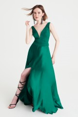 Drexcode - Abito lungo verde in satin - Kathy Heyndels - Sale - 2