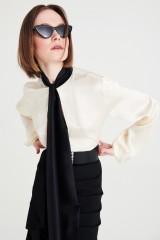 Drexcode - Camicia bianca in seta con fiocco nero - Redemption - Sale - 5