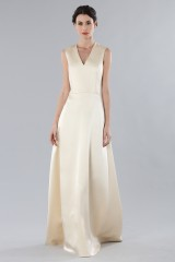 Drexcode - Ivory dress with V-neck in silk satin - Alberta Ferretti - Rent - 1