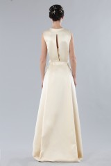 Drexcode - Ivory dress with V-neck in silk satin - Alberta Ferretti - Rent - 2