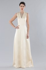 Drexcode - Ivory dress with V-neck in silk satin - Alberta Ferretti - Rent - 3