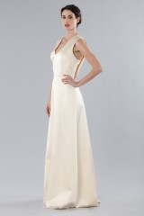 Drexcode - Ivory dress with V-neck in silk satin - Alberta Ferretti - Rent - 4