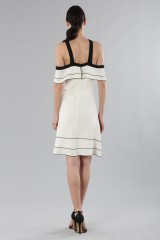 Drexcode - White and black off-shoulder flared dress - Proenza Schouler - Sale - 3
